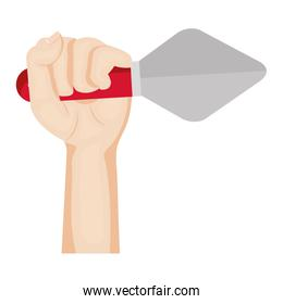 hand with spatula tool isolated icon
