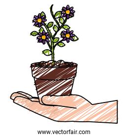 hand with flower in pot icon