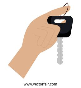 hand with car key isolated icon