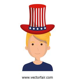 man with USA hat character