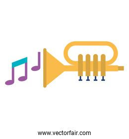 trumpet with music notes