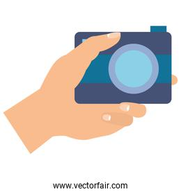 hands with photographic camera isolated icon