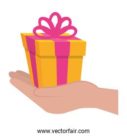 hand with gift box present icon