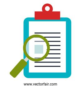 clipboard paper with magnifying glass