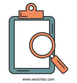 isolated clipboard paper with magnifying glass