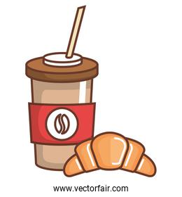 coffee in plastic container with croissant