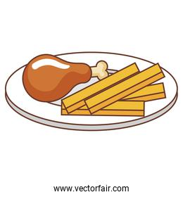 dish with thigh chicken and french fries isolated icon