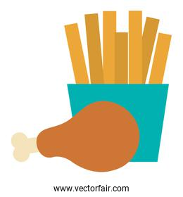 thigh chicken meat with french fries