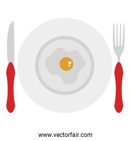 dish and cutlery with egg fried