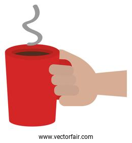 hand with coffee cup drink icon