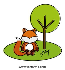 cute and tender fox in the camp character