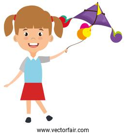 cute and little girl flying a kite