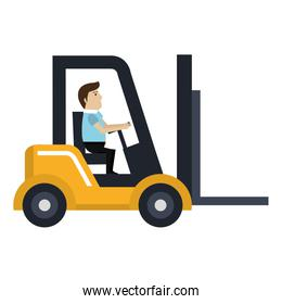 forklift vehicle with driver