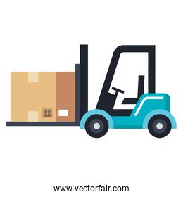 forklift vehicle with box