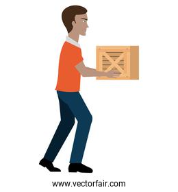 delivery worker lifting goods avatar character