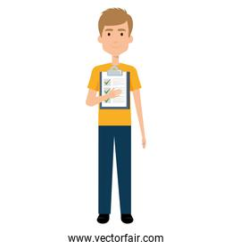 delivery worker with checklist avatar character