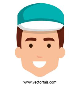 delivery worker head avatar character