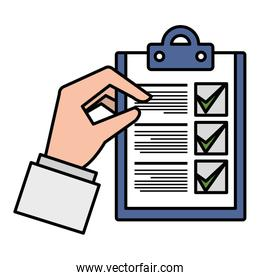 hand with checklist document isolated icon