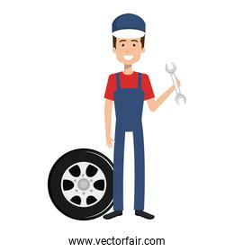 mechanic worker with tire and wrench avatar character