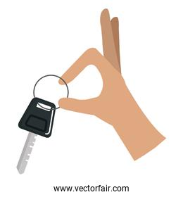 hands with car key isolated icon