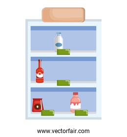 supermarket shelving with products