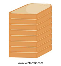 bread sliced pile isolated icon
