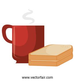 coffee cup with bread sliced