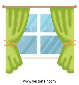window with courtain isolated icon