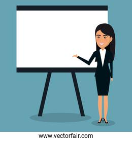 businesswoman with paperboard character