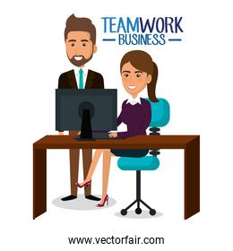 group of businespeople teamwork in workplace