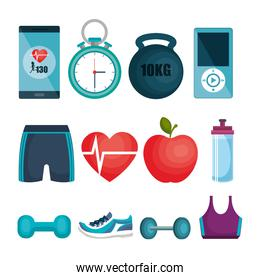 fitness and gym set icons