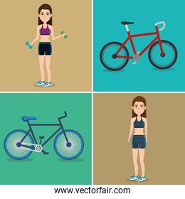 female athletes with bicycles