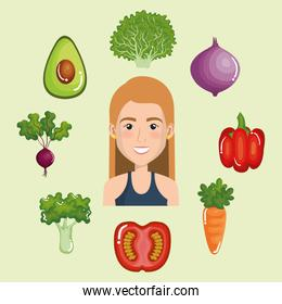 female athlete with healthy food