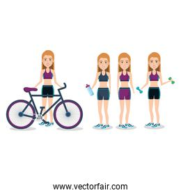 female athletes with bicycle and weight lifting