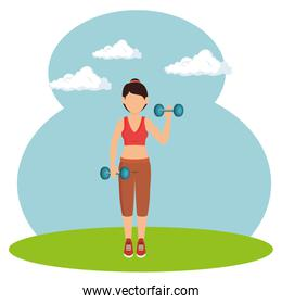 athlete female working out character