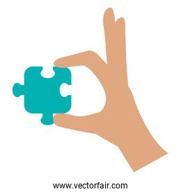 hand with puzzle game piece icon