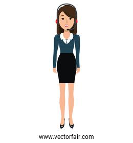 businesswoman with headset character