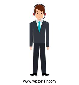 businessman with headset avatar character