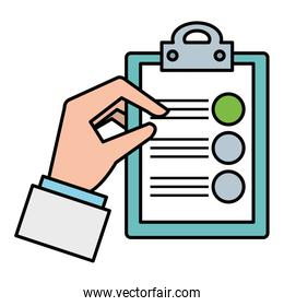 hand with checklist clipboard isolated icon