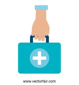 hand with medical kit isolated design