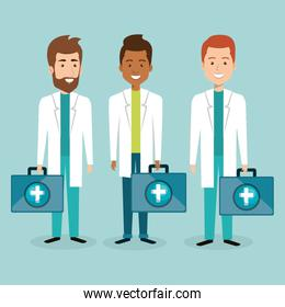 group of smiling medical staff with kit characters