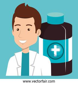 male doctor with bottle drugs