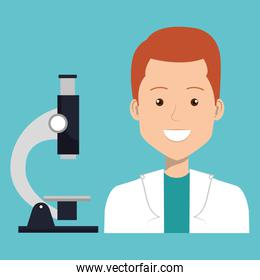 male doctor with microscope blue background