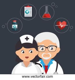 couple doctors with medical icons