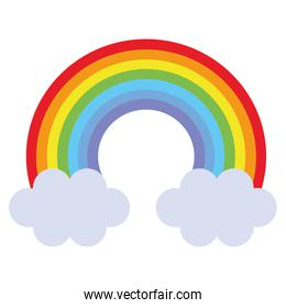 cute rainbown with clouds