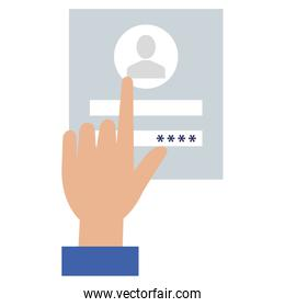 hand user with login interface access icon