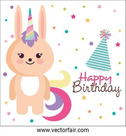 happy birthday card with bunny character