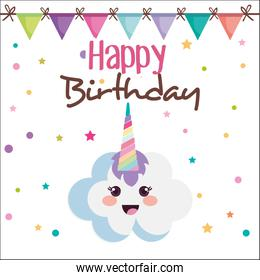 happy birthday card with cloud