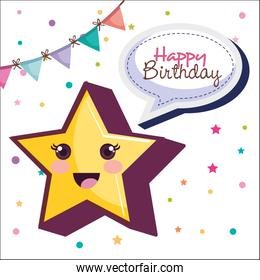 happy birthday card with star character