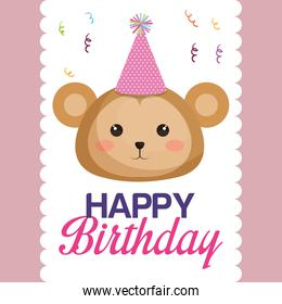 happy birthday card with monkey character